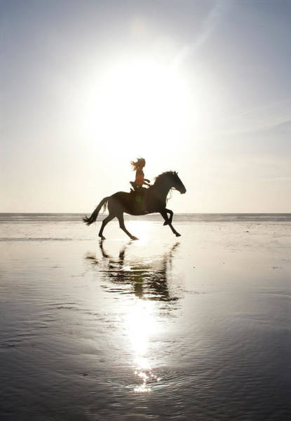 Sunlight Photograph - Teenage Girl Riding Horse On Beach by Jo Bradford / Green Island Art Studios