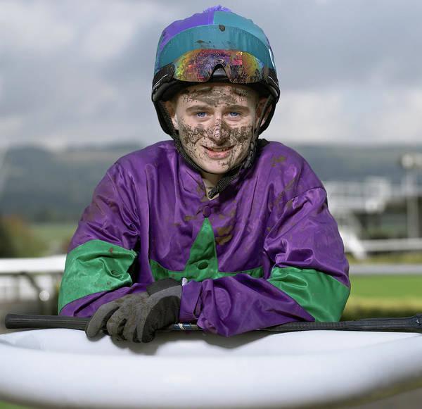 Caucasian Photograph - Teenage Jockey 16-18 With Dirty Face by Alan Thornton