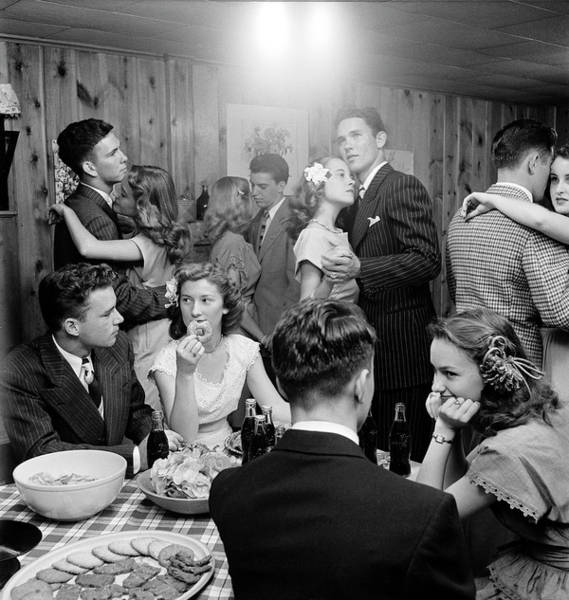 Dancing Photograph - Teenagers Dancing And Socializing At A by Nina Leen