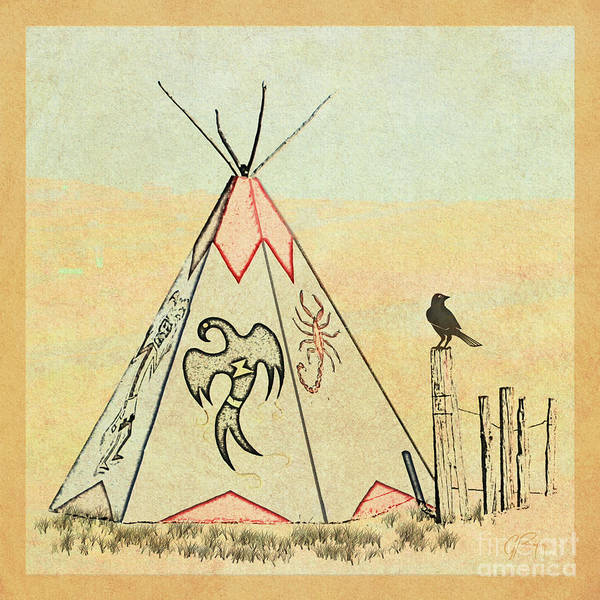Prairie Home Digital Art - Teepee With Symbols by Gabriele Pomykaj