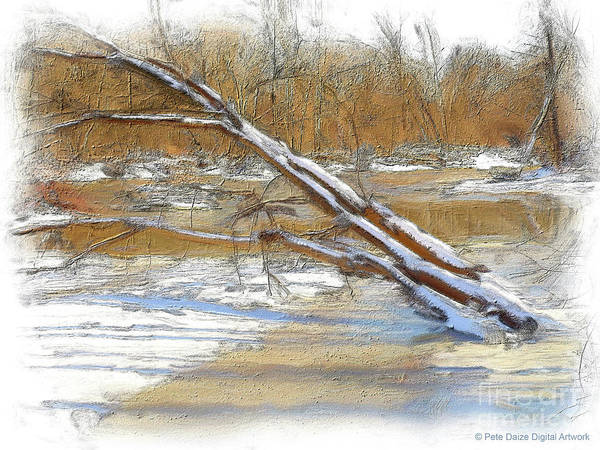 Frozen River Digital Art - Teetering On The Brink by Pete Daize