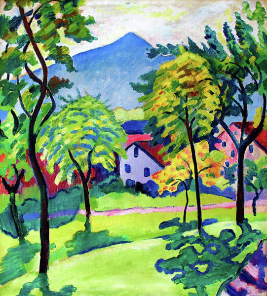 Wall Art - Painting - Tegernsee Landscape - Digital Remastered Edition by August Macke