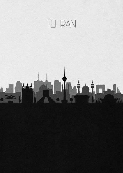 Mosque Digital Art - Tehran Cityscape Art by Inspirowl Design
