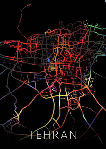 Wall Art - Mixed Media - Tehran Iran Watercolor City Street Map Dark Mode by Design Turnpike