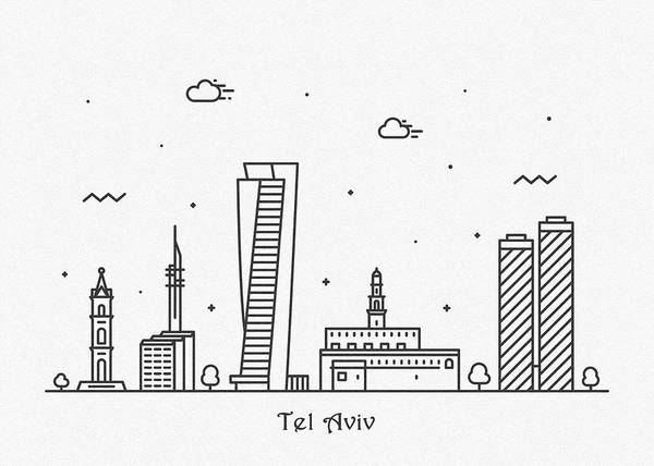 Drawing - Tel Aviv Cityscape Travel Poster by Inspirowl Design