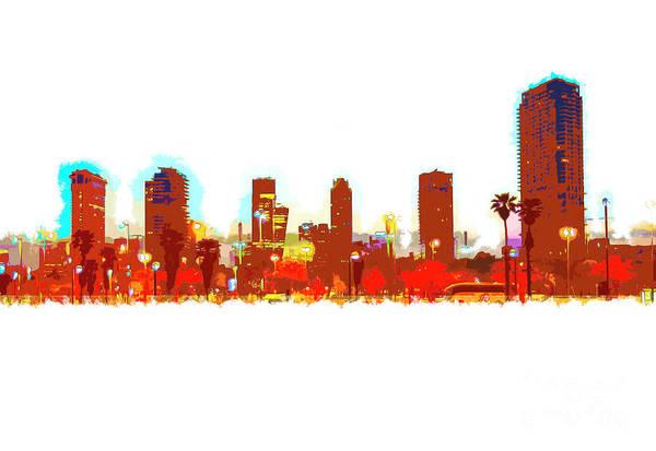 Wall Art - Photograph - Tel Aviv, Israel. Skyline At Dawn K7 by Humorous Quotes