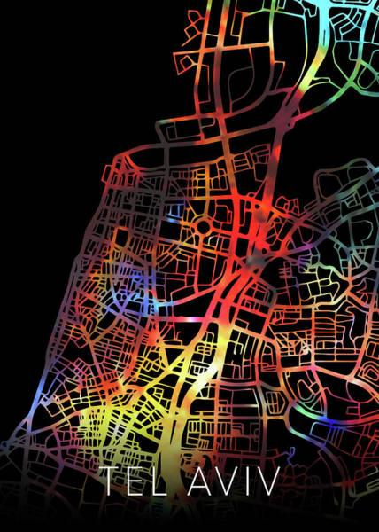 Wall Art - Mixed Media - Tel Aviv Israel Watercolor City Street Map Dark Mode by Design Turnpike