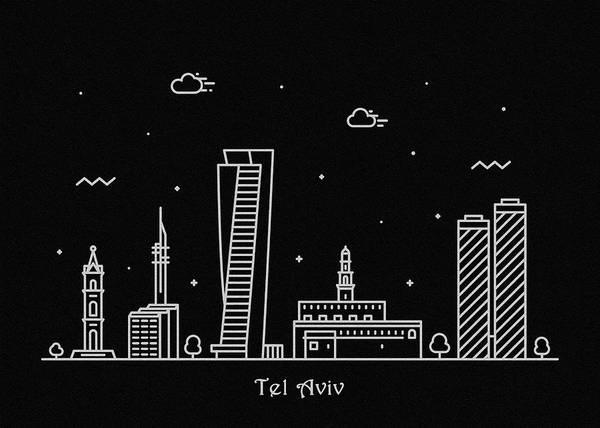 Israel Digital Art - Tel Aviv Skyline Travel Poster by Inspirowl Design