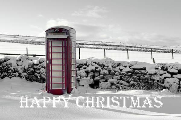 Photograph - Telephone Box Snow - Happy Christmas II by Helen Northcott
