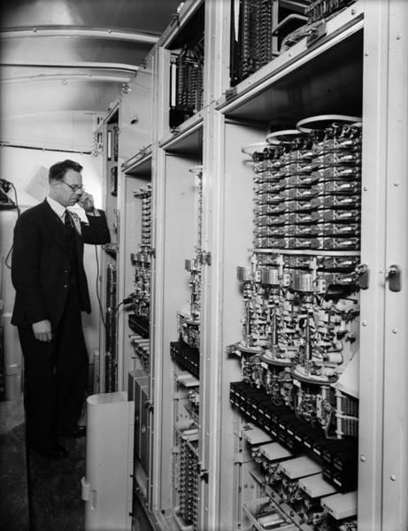 Telephone Photograph - Telephone Exchange by Fox Photos
