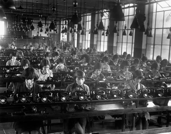 Telephone Photograph - Telephone Factory by Fox Photos
