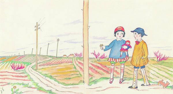 Wall Art - Painting - Telephone Pole - Digital Remastered Edition by Takehisa Yumeji