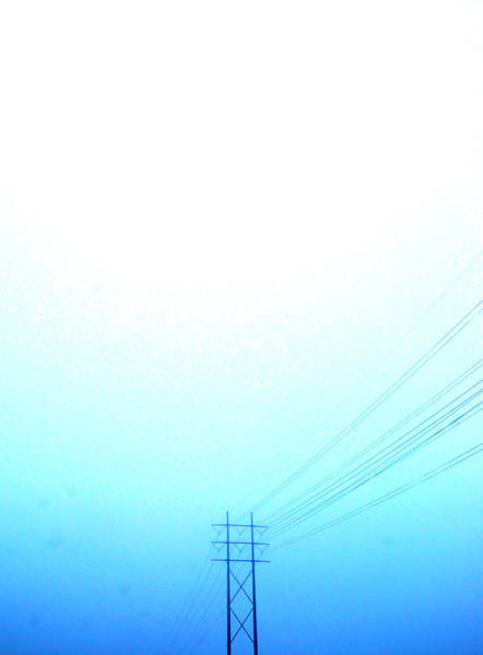 Vertical Line Wall Art - Photograph - Telephone Wires In A Foggy Turquoise Sky by Meredith Winn Photography