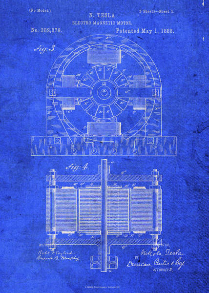 Patent Mixed Media - Telsa Electric Motor Patent Blueprint by Design Turnpike