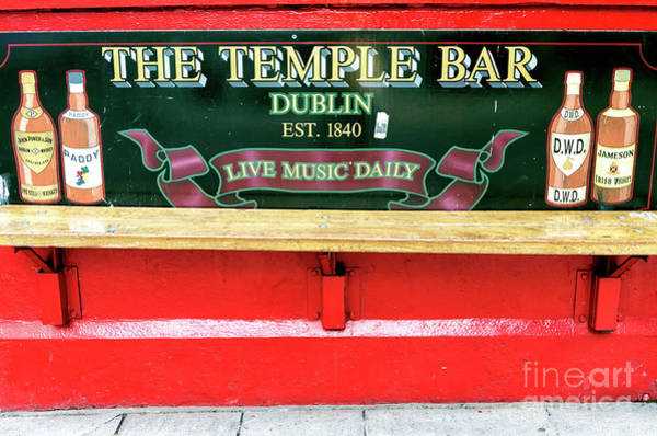 Temple Bar Wall Art - Photograph - Temple Bar Bench Dublin by John Rizzuto