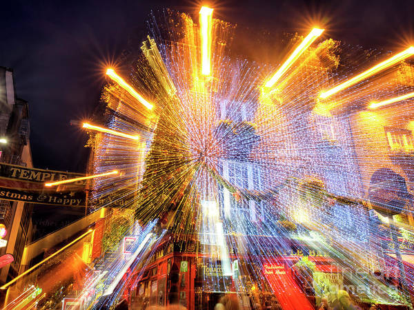 Wall Art - Photograph - Temple Bar Light Motion 3 Dublin by John Rizzuto
