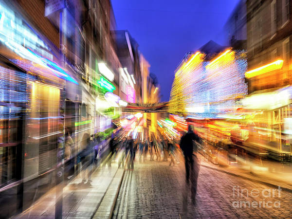 Wall Art - Photograph - Temple Bar Light Motion 5 In Dublin by John Rizzuto