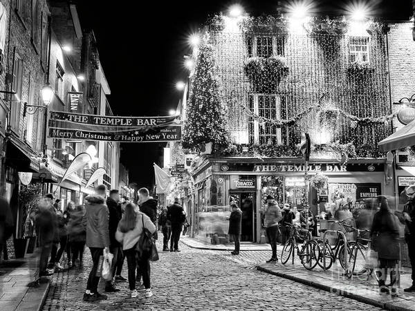 Temple Bar Wall Art - Photograph - Temple Bar Lights Dublin by John Rizzuto