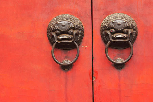 The Doors Wall Art - Photograph - Temple Door Knockers Jade Buddha Temple by Laurie Noble