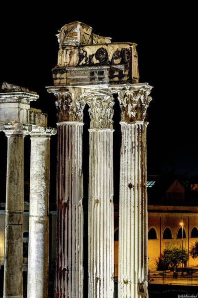 Photograph - Temple Of Vespasian And Titus At Night by Weston Westmoreland