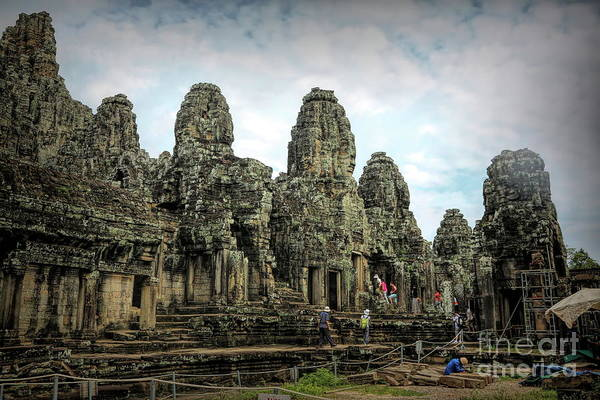 Wall Art - Photograph - Temple Re Hab Construction Cambodia  by Chuck Kuhn