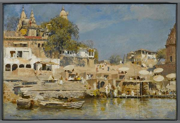 Wall Art - Painting - Temples And Bathing Ghat At Benares by MotionAge Designs