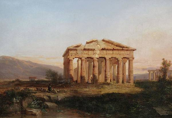 Legion Of Honor Painting - Temples Of Paestum At Evening  by Jules Coignet