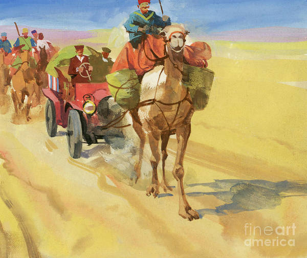 Wall Art - Painting - Ten Thousand Mile Motor Race Camel Train by Ferdinando Tacconi