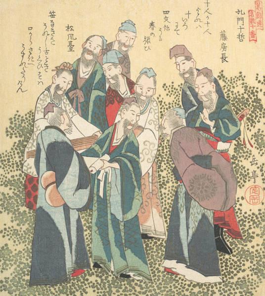 Relief - Ten Wise Men Among The Disciples Of Confucious by Yashima Gakutei