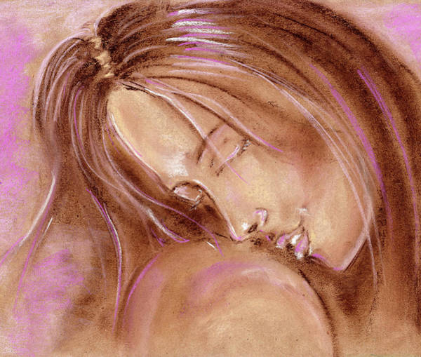 Wall Art - Drawing - Tenderness. The Girl Puts Her Head On The Shoulder Of Her Lover. Soft Pastel Pattern In Pink Tones. by Elena Sysoeva
