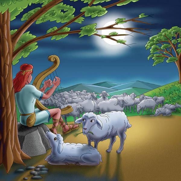 Harp Mixed Media - Tending Sheep by John Shaffer