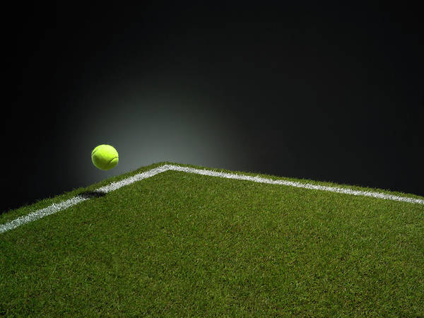 Court Photograph - Tennis Ball At Edge Of Court by Phil Ashley