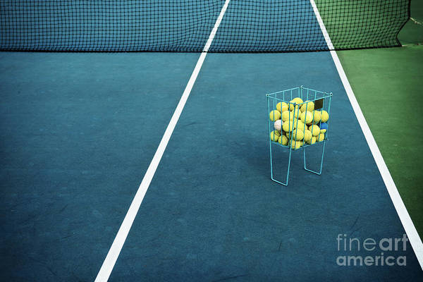 Tennis Court With Tennis Balls In Art Print