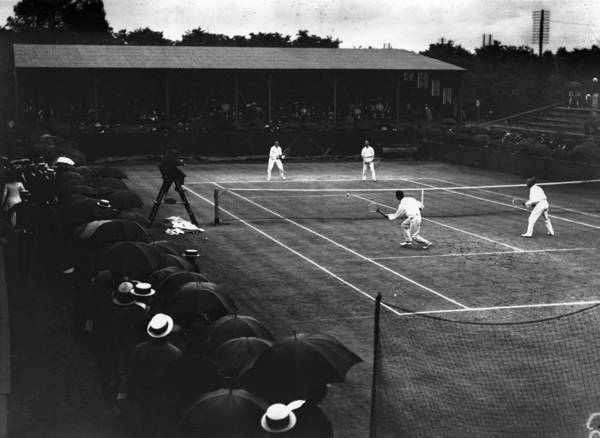 Court Photograph - Tennis In Rain by Topical Press Agency