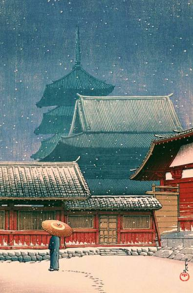 Believers Painting - Tennoji - Top Quality Image Edition by Kawase Hasui