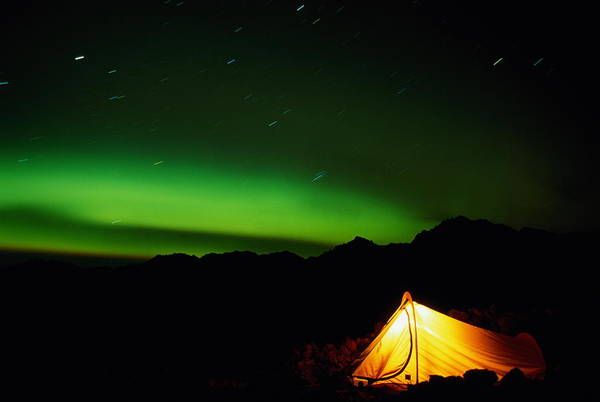 Tent Photograph - Tent And Aurora Borealis, Alaska, Usa by Paul Souders