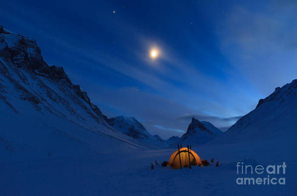 Camp Wall Art - Photograph - Tent In The Mountains On A Winter Night by Sander Van Der Werf