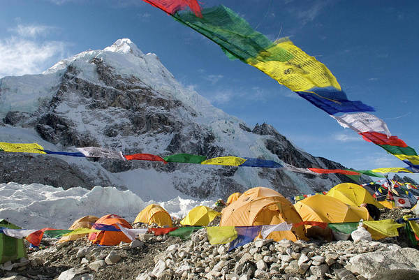 Khumbu Wall Art - Photograph - Tents Of Mountaineers Are Scattered by Danita Delimont