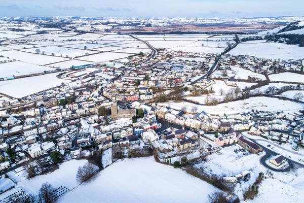 Photograph - Tregaron In The Snow, From The Air by Keith Morris