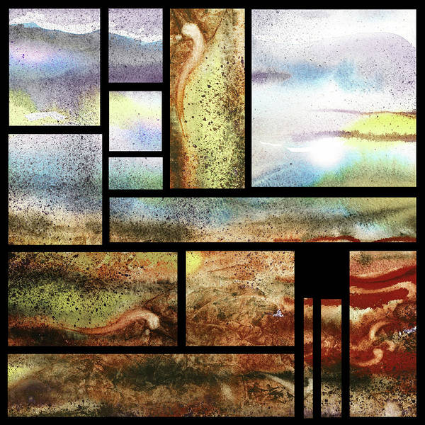 Wall Art - Painting - Terra Geometry Blocks Abstract Watercolor by Irina Sztukowski