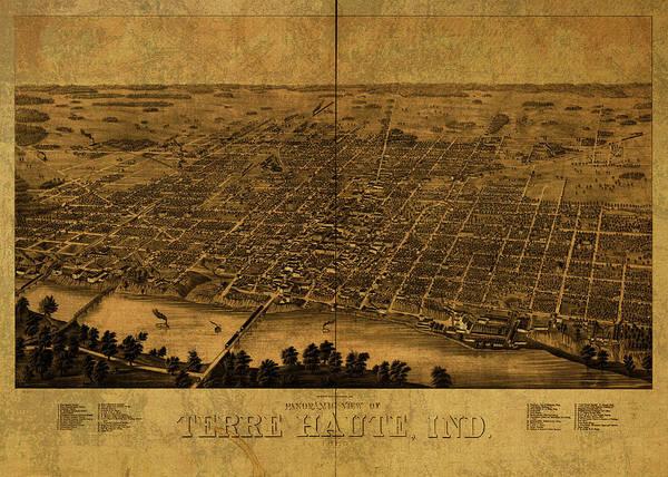 Terra Haute Indiana Vintage City Street Map 1890 Art Print