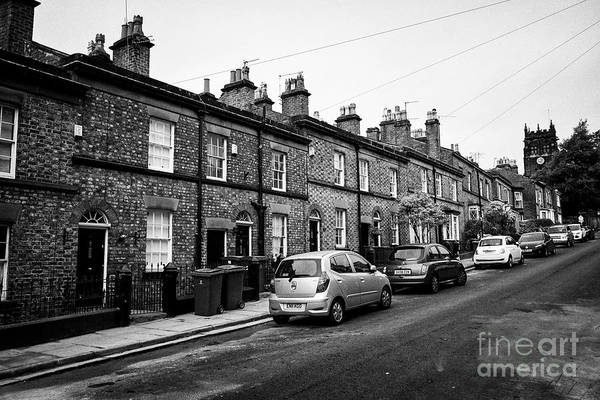 Wall Art - Photograph - terrace of brick houses with stone dressings and slate rooves on church road woolton Liverpool Merse by Joe Fox