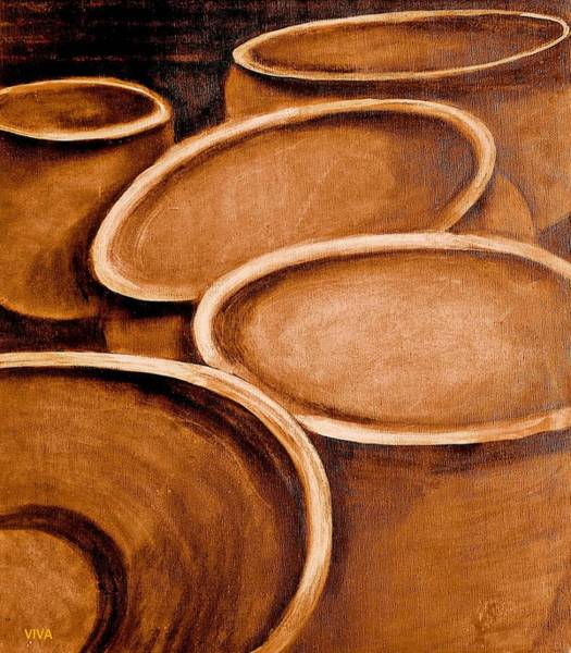 Painting - Terracotta Pots Sketch by VIVA Anderson