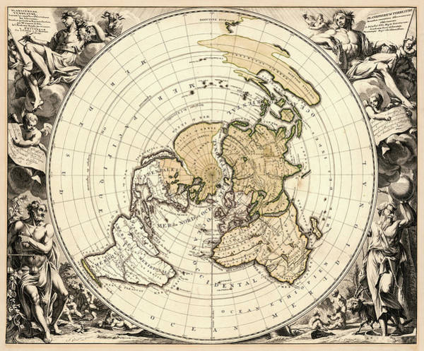 Wall Art - Painting - Terrestrial Planisphere, Next The New Observations Of Astronomers, 1721 by Gilliam Gouwen