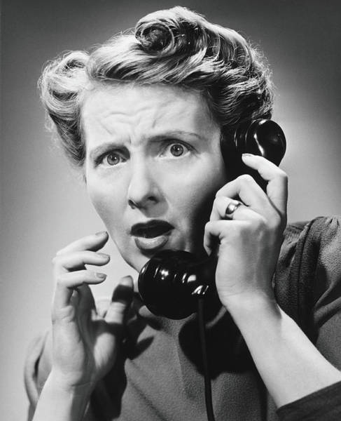 Mature Adult Photograph - Terrified Woman Talking On Phone, B&w by George Marks