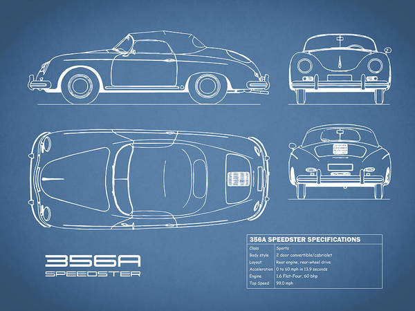 Wall Art - Photograph - 356a Speedster Blueprint by Mark Rogan