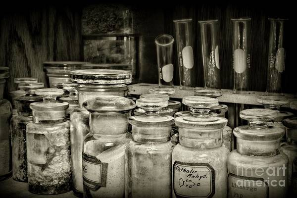 Wall Art - Photograph - Test Tubes And Science In Black And White by Paul Ward
