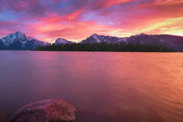 Wall Art - Digital Art - Teton Firesky V by Jon Glaser