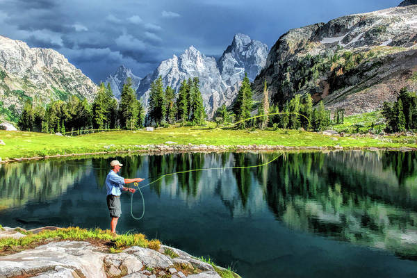 Painting - Grand Teton National Park Mountain Lake Fishing by Christopher Arndt