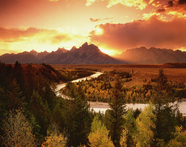 Snake Photograph - Teton Range At Sunset From The Snake by Adam Jones/visuals Unlimited, Inc.
